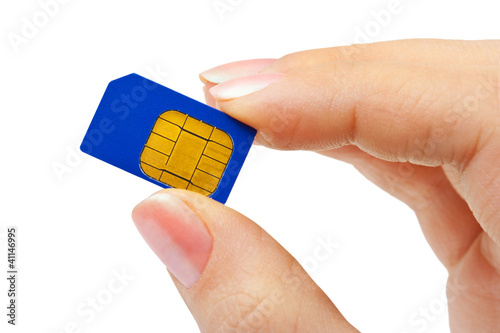 Hand and phone sim card