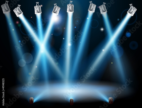 Blue spotlights background