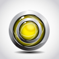 3d glossy yellow shine button with chrome frame.