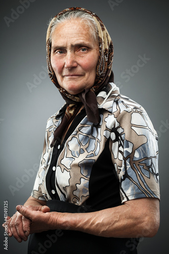 Elderly woman with kerchief