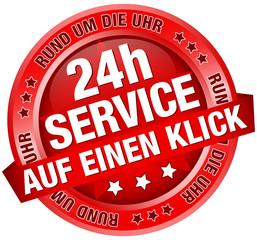"""Button Banner """"24h Service - auf einen Klick"""" rot"""