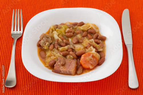 Feijoada Portuguesa in the white plate