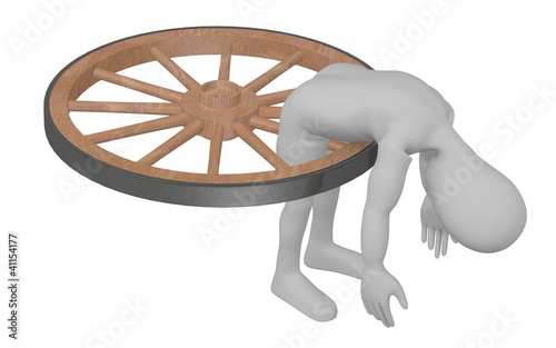 3d render of cartoon character broken in wheel
