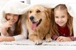 Cute little girls having fun with dog smiling