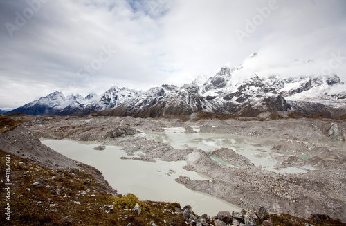 Glacier near Gokyo in Himalaya mountains