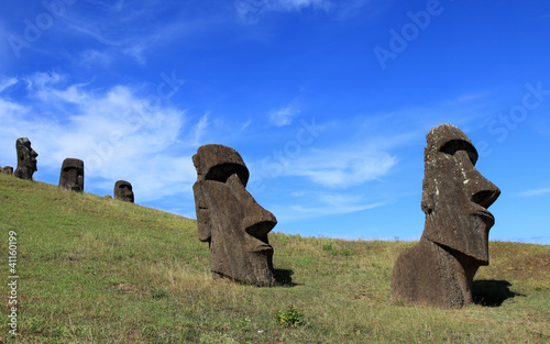 The Quarry on Easter Island with moais on the hill