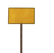 Tall Isolated Yellow Road Sign on a Wood Post