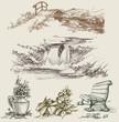 Park or garden design elements sketch