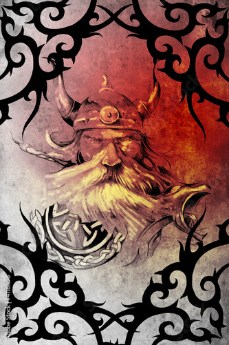 Tattoo art design, viking warrior decorated with tribal artworks