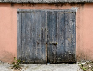 old weathered wooden garage door