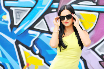 Beautiful female wearing sunglasses.