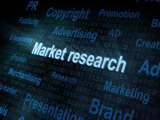 Pixeled word Market research on digital screen