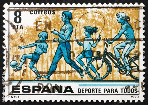 Postage stamp Spain 1979 Children kicking Ball and Skipping Rope