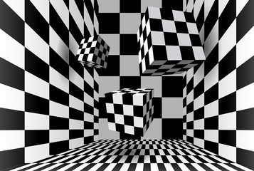 Checkered cube room
