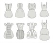 Vector illustrations of dresses