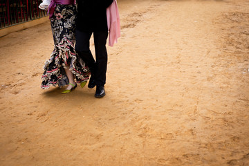 Detail of a couple wearing flamenco costumes in Seville, Spain
