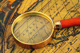 Old map and  magnifier
