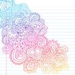 Psychedelic Flowers Notebook Doodles Vector