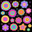 Groovy Flower Power Doodles Psychedelic Design Elements