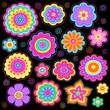 Groovy Flower Power Doodles Psychedelic Design Elements