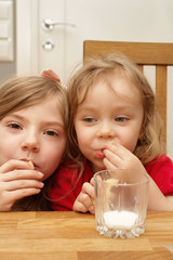 Young girls eating