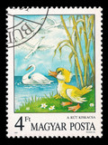 Slaked postage stamp in 1987 with the ugly duckling and swans