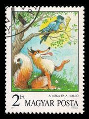 Slaked postage stamp in 1987 with the Crow and the Fox