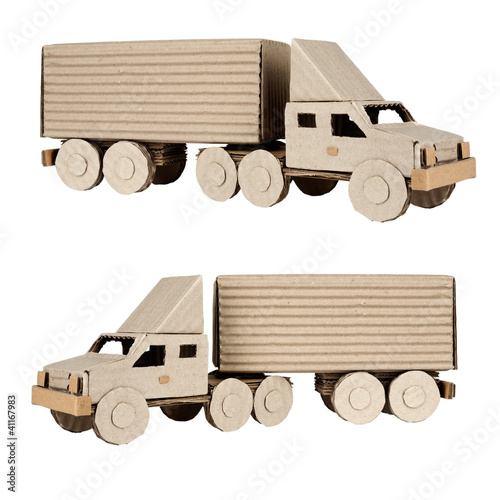 tractor trailer truck on white background