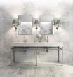 Minimal elegant luxury bathroom, olive green white marble