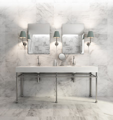 Minimal elegant luxury bathroom, olive green white marble