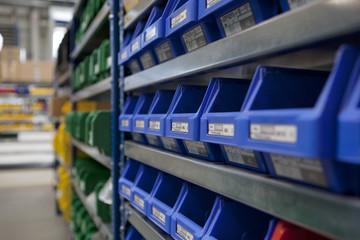 factory stockroom boxs on shel