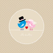 Birds Holding 1 Heart Mr. & Mrs. Beige Dots Background
