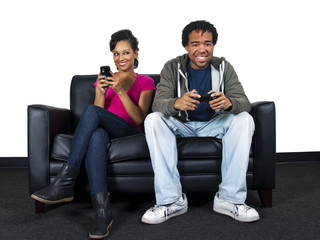 man ignoring girlfriend while playing video games