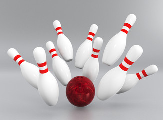 bowling strike on light gray background