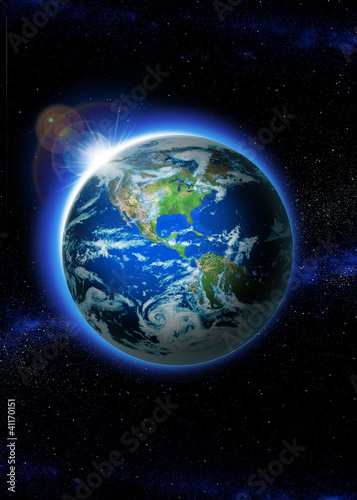 Planet earth with sunrise in space, Rising Sun over Earth