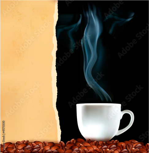 Background with cup of coffee and old ripped paper.