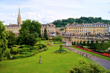 View over a park in Bath, Enlgand