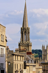 Bath, England, church spires and architecture of the old town
