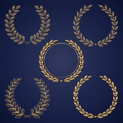 Vector set of golden laurel wreaths