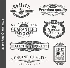 Vector decorative ornamental emblems of quality
