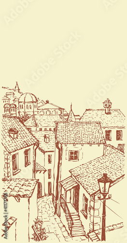 Vector outline. The narrow streets of old town
