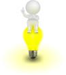 3d Man Vector sitting on lightbulb,  having an idea