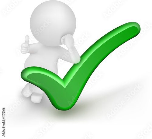 3d Man Illustration with green check mark and thumbs up gesture