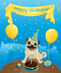 Funny birthday card  - Dogs having fun at birthday party