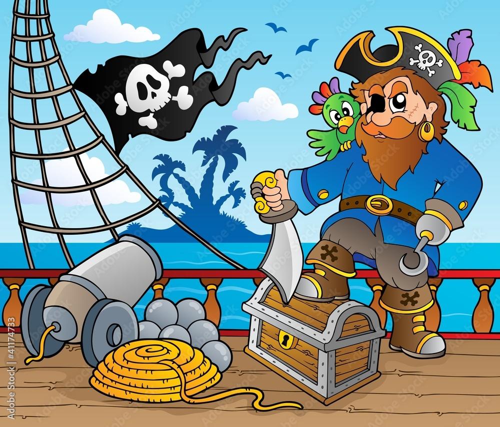 Pirate Ship Deck Theme 2 41174733 Piraci Plakaty