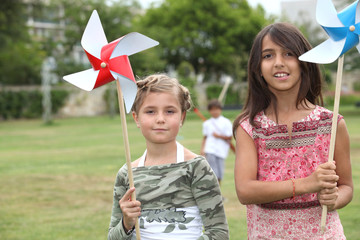 Girls with windmill