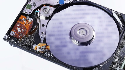 Hard disk drive (hdd) data loss concept with ashes blowing up