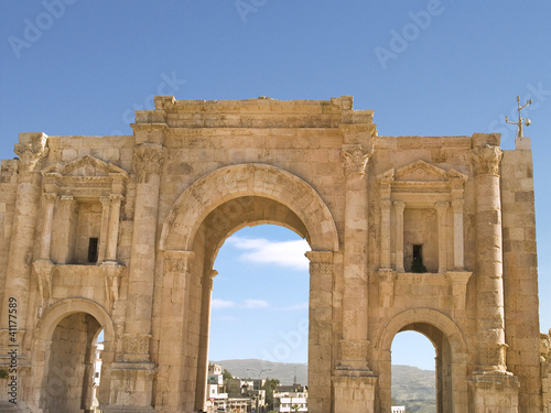 Hadrian's Gate located in Jerash, Jordan, Middle East.