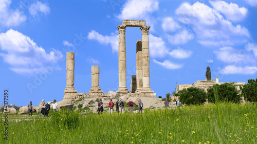 Roman remains of Citadel of Amman, Jordan, Middle East.