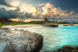 Caribbean beach in Mexico at sunset - Fine Art prints